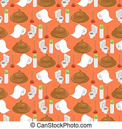 Toilet background. Shit and toilet seamless pattern. Plunger and  roll of toilet paper ornament. Accessories for lavatory