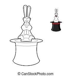 Rabbit in magician hat coloring book Focus in linear style...