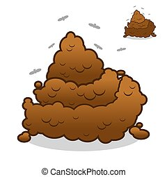 Shit and flies. Poop. Pile of Crap on white background. Turd isolated. Brown excrement.