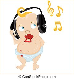 Cute Baby Listening to some music Editable Vector...