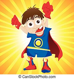 Super hero Boy Editable Vector Illustration