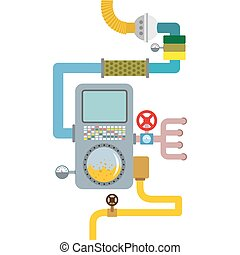 Processing system. working mechanism. Valves and pipes. Sensors and tank. Device with screen and tubes