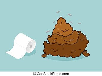 Shit and roll of toilet paper Brown turd and paper product...