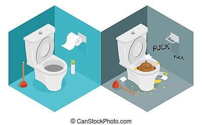 Clean and dirty toilet isometrics. interior of shithouse. New outhouse and plunger. Puddle of urine. Roll of toilet paper. Interior furnishings of restroom