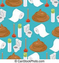 Toilet seamless pattern. Toilet and plunger. Shit and toilet paper. Background washroom accessories. Turd and air freshener ornament. wc texture. brown Poop