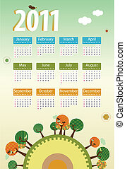 Calendar 2011 environmental retro planet with trees,birds,flowers and clouds. Editable Vector Illustration