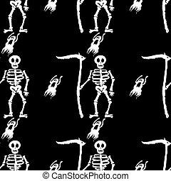 mortos, esqueleto, cranio, Padrão, dia das bruxas, Ilustração, fundo