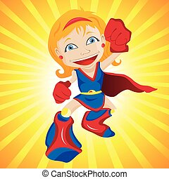 Super hero Girl Editable Vector Illustration
