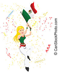 Mexico Soccer Fan with flag.