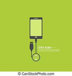 Abstract background with charge mobile phones usb cable is...