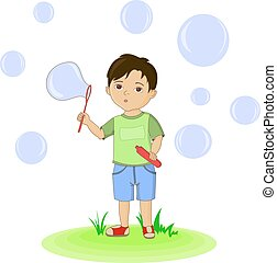 Cute boy blowing bubbles. hand drawn illustration vector