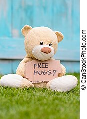 Teddy bear holding cardboard with information Free Hugs -...