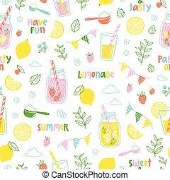 Lemonade party pattern - Summer lemonade party seamless...