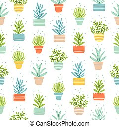 Succulents colorful doodle pattern