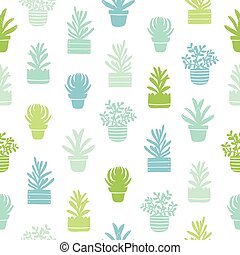 Succulents silhouettes simple pattern - Succulents...