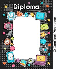 Kawaii gadgets social network diploma. Doodles with pretty...