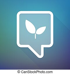 Long shadow tooltip icon on a gradient background  with a plant
