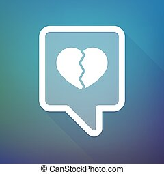 Long shadow tooltip icon on a gradient background  with a broken heart