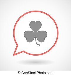 Isolated line art comic balloon with a clover