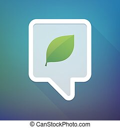 Long shadow tooltip icon on a gradient background  with a green  leaf
