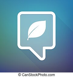Long shadow tooltip icon on a gradient background  with a leaf