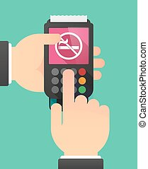 Person hands using a dataphone with a no smoking sign -...