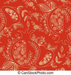 Rosh Hashanah Jewish New Year seamless pattern background...