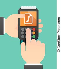 Person hands using a dataphone with a music score icon -...