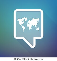 Long shadow tooltip icon on a gradient background  with a world map