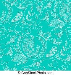 Rosh Hashanah (Jewish New Year) seamless pattern background....