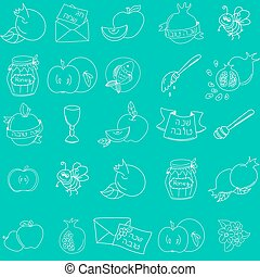 Rosh Hashanah (Jewish New Year) seamless pattern background....