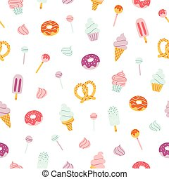Candy bar pattern - Candy bar sweets and pastry seamless...