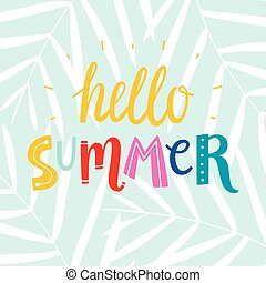 Hello summer colorful writing emblem