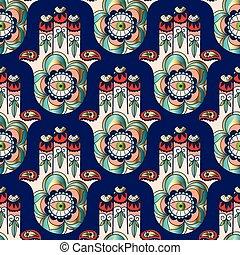 Seamless pattern Hamsa - Colored seamless pattern from...