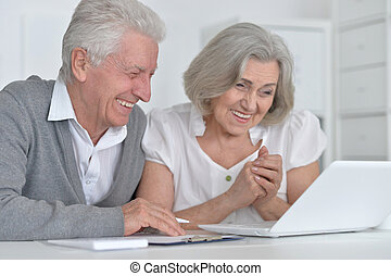 Senior couple with laptop - Portrait of a happy senior...