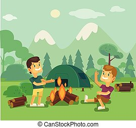 Camping. Vector flat cartoon illustration