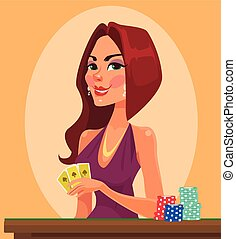 Beauty woman holding cards Casino vector flat cartoon...