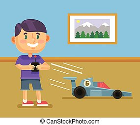 Boy playing RC car Vector flat cartoon illustration