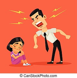 Father scolds his daughter Vector flat cartoon illustration