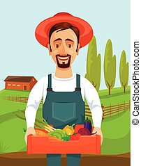 Happy farmer holds box with vegetables Vector flat cartoon...