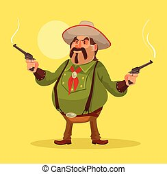 Mexican robber. Whild west. Vector flat cartoon illustration
