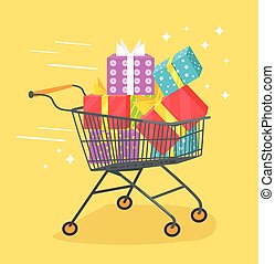 Trolley with shopping bags and gift box Vector flat cartoon...