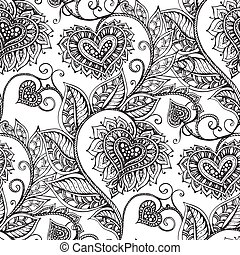 Vector seamless pattern with hand drawn flowers in zentangle sty