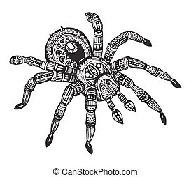 Vector hand drawn ornate spider in zentangle style. Doodle...