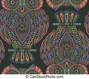 Colorful vector seamless pattern with hand drawn ornate owls