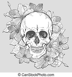 Vector illustration with hand drawn human skull, clematis...