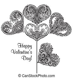 Greeting card with hand drawn ornate hearts in flower form -...