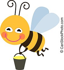 Bee with honey - color illustration icon