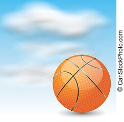 Basketball Ball on Cloudy Sky Background