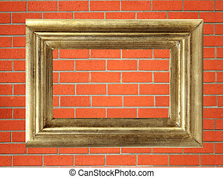 empty golden wooden frame on the red brick wall